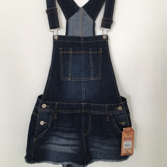 Mudd Denim - Women's Adjustable Straps Denim Overalls Shorts